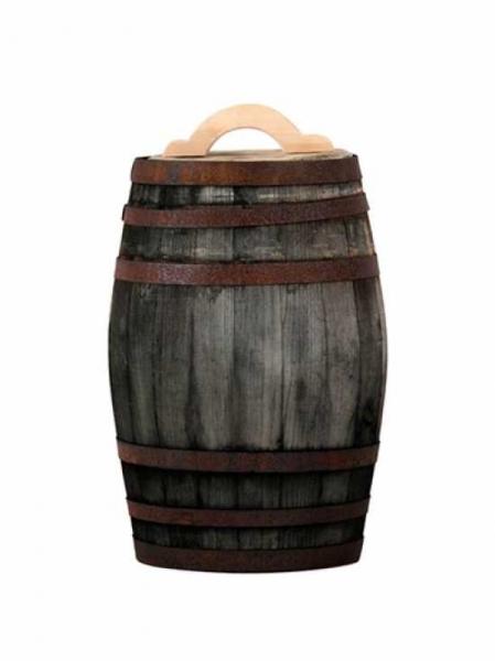 Weinfass bzw. Regentonne 50 Liter / H: 60 cm Ø: 40 cm Gewicht: 13 kg (Kastanie old) Nr. W303