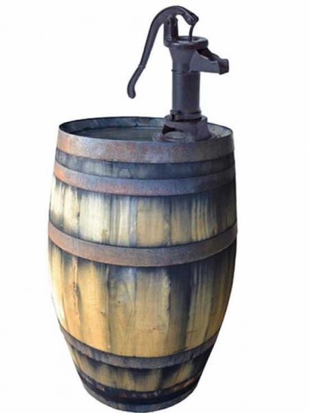 Weinfass bzw. Regentonne 200 Liter inkl. Pumpe / H: 161 cm Ø: 60 cm Gewicht: 74 kg (Kastanie old) nr.1001